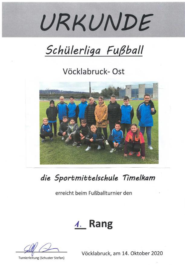1. Platz Fußball-Schülerliga