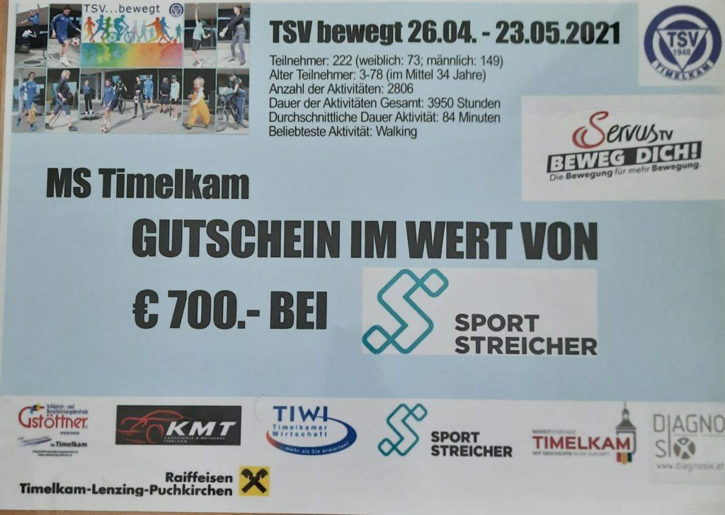 TSV bewegt – MS Timelkam erhält Gutschein